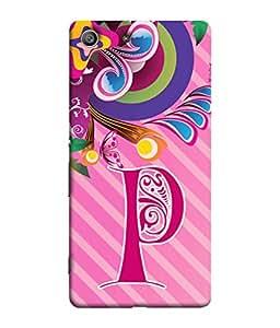 Sony Xperia Z3, Sony Xperia Z3 Dual D6603, Sony Xperia Z3 D6633 Back Cover Alphabet P Multicolor Floral Pattern Design From FUSON