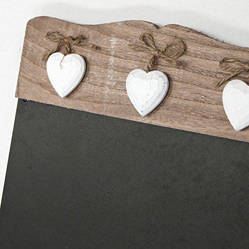 Just Contempo Shabby chic Décoration pour cuisine tableau mémo Motif cœurs Noir/brun 40 x 24 cm, Bois dense, Noir/marron, 40 x 24 cm