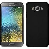 PhoneNatic Case für Samsung Galaxy E7 Hülle schwarz gummiert Hard-case + 2 Schutzfolien