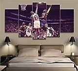 ZKPWLHS ImpressionssurToile 5 Pièces De Basket-Ball Étoile NBA James Vs Jordan Affiche Mur Cadre De Décoration De La Maison (Taille_B) avec Cadre
