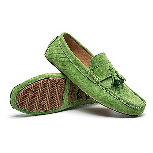 iLory Chaussures Bateau pour homme en suédine Mocassins Pantoufles de Conduite,Men's-dérapant Plates Loafers tissé Vert