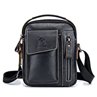 BULLCAPTAIN Men's Small Shoulder Bag, Genuine Leather Bag, Retro Lightweight Cross Body Everyday Satchel Bag for Business Casual Sport Hiking Travel