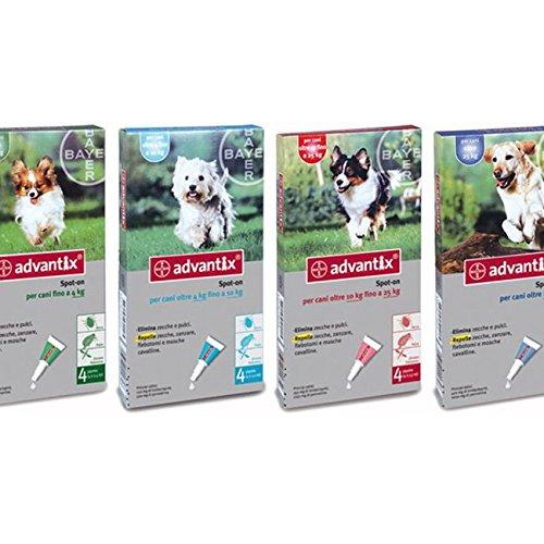 Advantix ® Spot On per cani fino a 4 Kg - 4 pipette da 0.4 ml - Antiparassitario per Zecche Pulci e Pidocchi