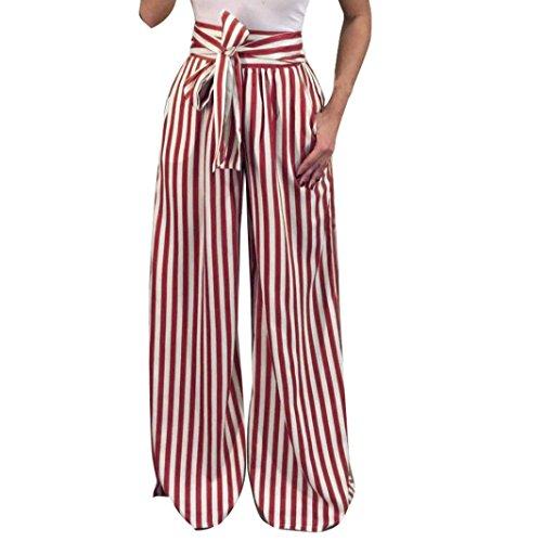 UFACE Striped Print Strap Hose mit weitem Bein Hose Damen Striped High Waist Harem Pants (XL/(44), Wein)