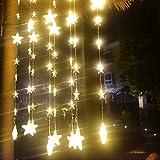 Igemy Sterne Vorhang Lichter 40 Sterne Lichter Fenster Lichterketten Plug in Vorhang String (Gelb)