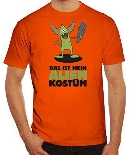Fasching Karneval Herren T-Shirt mit Das ist mein Alien Kostüm 5 Motiv von ShirtStreet Orange