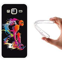 Funda Samsung Galaxy J3 - J3 2016, WoowCase [ Samsung Galaxy J3 - J3 2016 ] Funda Silicona Gel Flexible Jugador de Baloncesto 2, Carcasa Case TPU Silicona - Transparente
