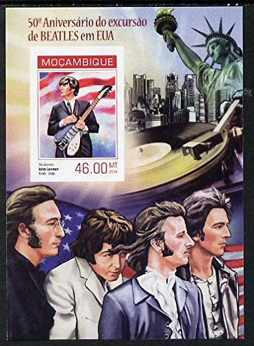 Mozambique 2014 50th Anniv of Beatles Trip to USA #4 imperf s/sheet u/m PERSONALITIES BEATLES POPS MUSIC ROCK AMERICANA STATUE OF LIBERTY JandRStamps -