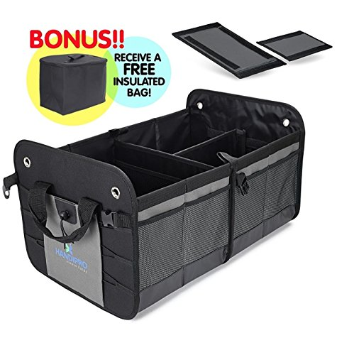 Preisvergleich Produktbild Premium Auto Trunk Organizer (Large) Heavy-Duty Car, Truck and SUV Storage | Compact Vehicle Compartment | 11 Pockets, Adjustable Dividers, Bottle Straps | Incl. Cooler