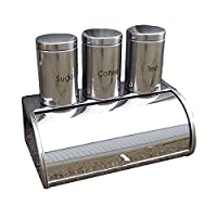 Bread Bin & Tea Coffee Sugar Jar Canisters Set of 4 Canister Bread Bin Set Large Kitchen 4Pc Storage Set Black , Metallic Coated Red, Red & Silver/Chrome
