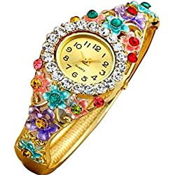 HARRYSTORE Women's Flower Crystal Bracelet Wrist Watch Gold