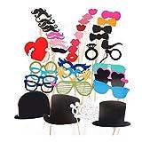 Neu 44 Tlg. Party Foto Verkleidung Schnurrbart Lippen Brille Krawatte