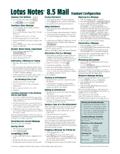 Lotus Notes 8.5 Mail Quick Reference Guide (Cheat Sheet of Instructions, Tips & Shortcuts - Laminated Card) -