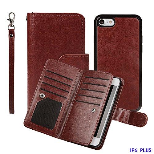 """iPhone 6 plus (5.5"""")Hülle wallet case,xhorizon TM FM8 2 in 1 Premium Leder [Brieftasche Funktion] [Magnetisch Abnehmbar] Wristlet Geldbörse Mehrfache Karten-Schlitze Abdeckung Folio Schutzhüller für i Kaffee"""