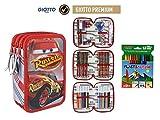 Trousse garnie Cars 3 Giotto, à fermetures éclair, 3 compartiments, 43pièces et 12crayons de cire Plastialpino.