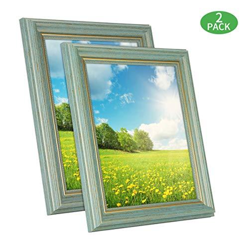SunGlobal 8x10 Bilderrahmen Set 2 Stück Fotorahmen Halter für Wand Desktop oder Tischdisplay Home Decor für Poster Collage Diplom Zertifikat etc. grün Wand Home Desktop