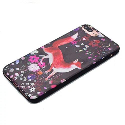 Etsue pour iPhone 7 Plus(5.5 Pouce) Coque de Téléphone,Mode Doux TPU Case Housse pour iPhone 7 Plus(5.5 Pouce),Sur Fond Noir [La tour] Motif Soft Silicone Case étui shell pour iPhone 7 Plus(5.5 Pouce) Renard