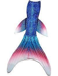 Xyfushi Costumes Enfants Femmes Filles baignable Mermaid Tail Fin Monofin Natation Maillots (enfants 10, bleu queue de sirène avec monopalme)