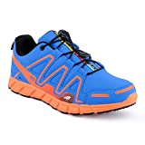 Herren Damen Sneaker Sportschuhe Lauf Freizeit Neon Runners Fitness Low Unisex Schuhe Blau/Orange-M...