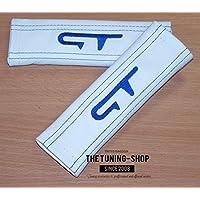 2x cintura cover imbottito spalla in pelle bianca blu GT Edition (Mazda 6 Oem Sostituzione)