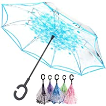 Paraguas Transparente Gris- Paraguas Invertido de Doble Capa,Paraguas Plegable de Manos Libres Autoportante