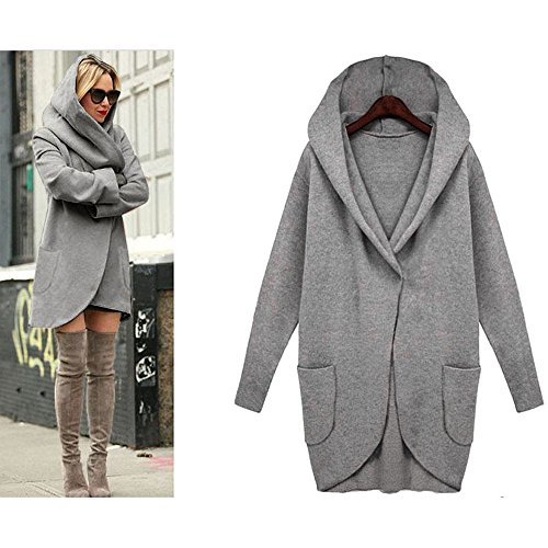 LHWY Femmes Slim manteau long manteau coupe-vent Parka Outwear manteau cardigan Gris foncé