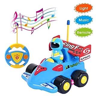 ANTAPRCIS Ferngesteuertes Auto Kinder,Ferngesteuerter ennfahrer Spielzeug,Licht- und Soundfunktion ,Cartoon Wagen für Kinder Kindergeschenk Blau