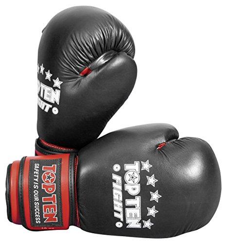 TOP TEN Erwachsene Boxhandschuhe Fight, Schwarz, 10, 2066-9010 Top Ten Handschuhe