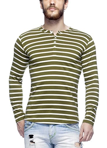 Tinted Men's Cotton Henley T-Shirt TJ103CSF4-OLIVE-M