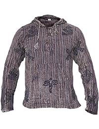 Little Kathmandu - Camiseta de manga larga y capucha para hombre 09cd9d15d8e