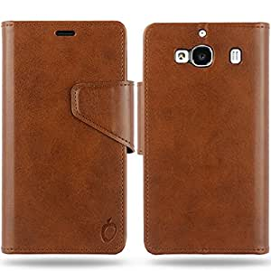 Cool Mango Business Flip Cover for Xiaomi Redmi 2 Prime - 100% Premium Faux Leather Flip Case for Xiaomi Redmi 2 / Prime 4G with 360 Degree Stitching, Magnetic Lock, Card & Currency Wallet – Limited Time Offer Pricing (Cocoa Brown)