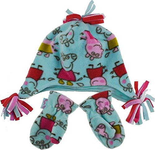 Mädchen Kinder Peppa Pig 2 stück Winter Fleece Hut und Fäustlinge Set - 3-6 Jahre
