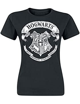 Harry Potter Hogwarts Logo Maglia Donna Nero