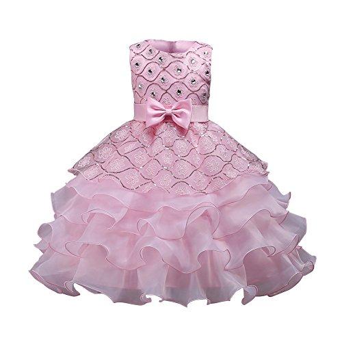 Hougood Mädchen Kleid Prinzessin Kleid Tanz Kostüme Pailletten Diamant Tanzkleid Hochzeit Geburtstagsparty Prom Formelle Anlässe Dress Up (Hübscher Tanz Kostüme Für Mädchen)