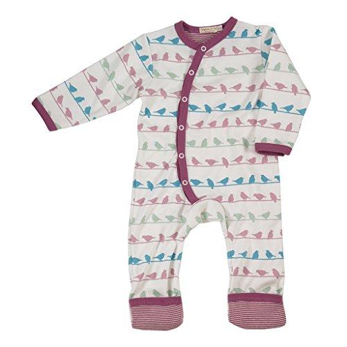Pigeon-organics For Kids Strampelanzug, lang, Vogel-Design, Lavendel, 6-12 Monate (Lavendel Monaten 9)