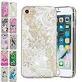 E-Mandala Apple iPhone 6S 6 Hülle Glitzer Flüssig Liquid Cover Handyhülle Schutzhülle Transparent mit Muster Durchsichtig Tasche Silikon - Weiße Spitzen Blumen