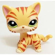 Littlest Pet Shop RARE Yellow Orange Tiger Cat Kitten Kitty Green Eyes LPS #1451 by new
