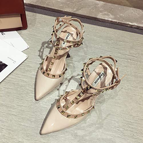 Uhrtimee Französisch Mädchen High Heels Weiblich 2019 Sommer Neue dünne mit Spitzen schwarzen sexy Schuhe Metallnieten Sandalen, 38, Beige Heel Mule