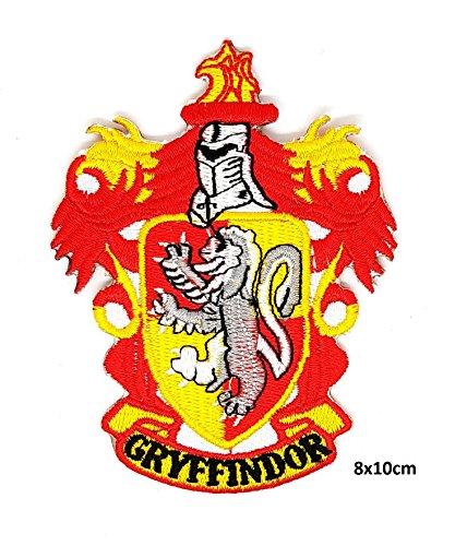 Eisen-maschine-kleidung (Harry Potter Ravenclaw, Hufflepuff, Slytherin, Gryffindor, Hogwarts Schule Logo, Hogwarts Wappen, Orden des Phoenix-Applikation | Stickerei Applikation Motiv Hohe Qualität Eisen auf Sew auf gestickten Patch Abzeichen für Kleidung Jacken T-Shirts Mäntel Taschen Hüte Geldbeutel GRYFFINDOR CUT OUT)