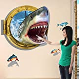 Clest F&H Kids Wall Art 3D Fierce Shark Wall Stickers Wall Art Home Decoration Accessories for Kids Room Bedroom Nursery Decor