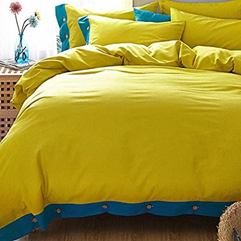 LY&HYL Cotton solid color grinding button Shuangpang set of 4 quilt Cover , 5 , queen