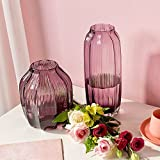 Casamotion Short And Long Ribbed Purple Glass Flower Vase Set Of 2 For Home Decoration