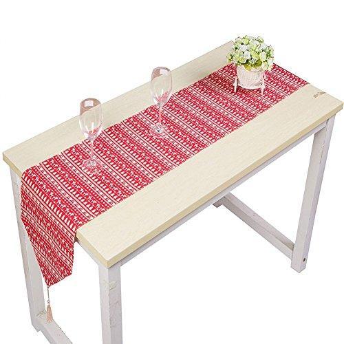 Topmail runner da tavola natalizio con nappa, christmas tovaglia runner decorazione per natale, in misto cotone lino, alce alberi rosso 220x30cm