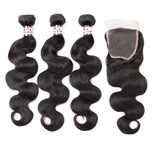 silkylong Grade 8a peruvian hair 3 bundles of body wave closure for weave Natural clor can be dye 12 14 16 +10