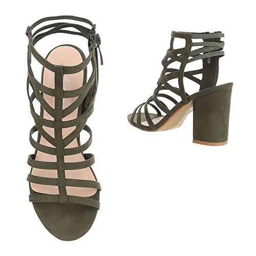 Ital-Design High Heel Sandaletten Damenschuhe Plateau Pump Riemchen Reißverschluss Sandalen/Sandaletten Olive