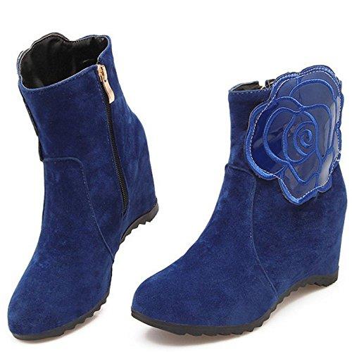 COOLCEPT Damen Elegant Fransen Reißverschluss Keilabsatz Knöchelriemchen hohen Absätzen Mit Blume Datierung Winterstiefel Blau