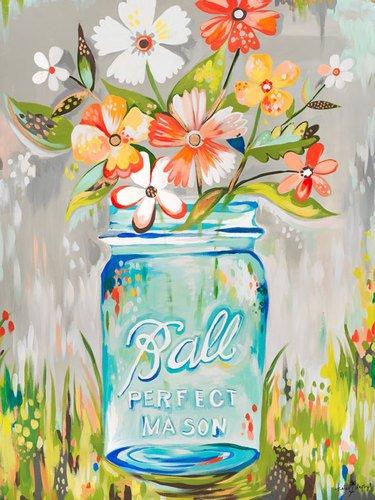 Kleister Art Collective Ball Perfekte Mason Jar von Katie Daisy Poster, DASS Stick Wand Aufkleber, 18von 24 - Daisy Bouquet Wand