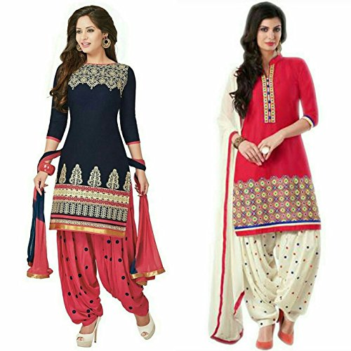 Market Magic World Women\'s Printed Unstitched Regular Wear Salwar Suit Dress Material (Combo pack of 2)(MMW_Combo_7010)(MMW_3001_Blue)(MMW_3032_Red & White)