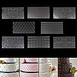 Alfombra para Impresión en Fondant - 8 Piezas (30,5cm x 16cm) 2 Diamante, 2 Cuadrados, 4 Diseños Florales Plástico Transparente Glaseado Pastel Grabado - Herramienta Decorar Chocolate, Galleta