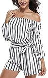 Miss Moly Damen Sommer Romper Aus Schulter Mini Kleider Jumpsuit mit Streifen Weiß - M